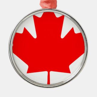 Canada - Maple Leaf Silver-Colored Round Decoration