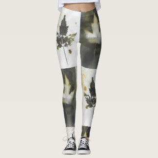 Canada Maple Leaf Two Ways Natural Ink Artwork Leggings