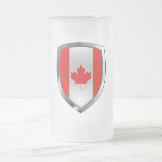 Canada Mettalic Emblem Frosted Glass Beer Mug