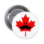 Canada Moustache - A moustache on red maple 6 Cm Round Badge