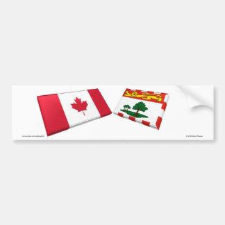 Canada Prince Edward Island Flag Tiles Bumper Sticker