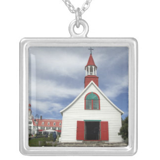 Canada,  Quebec,  Tadoussac. Petite Chapelle, Square Pendant Necklace