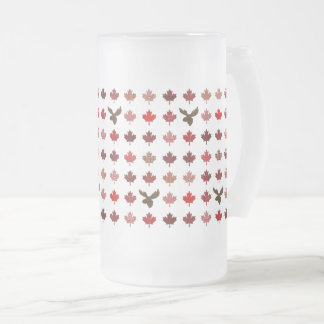 Canada Red Maple Leaves and Moose Frosted Glass Beer Mug