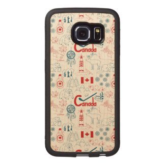 Canada | Symbols Pattern Wood Phone Case