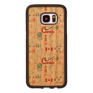 Canada | Symbols Pattern Wood Samsung Galaxy S7 Edge Case