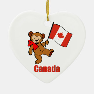 Canada Teddy Bear Ceramic Heart Decoration