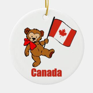 Canada Teddy Bear Round Ceramic Decoration