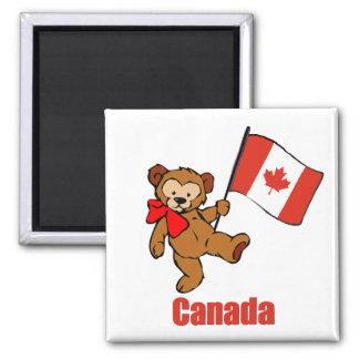 Canada Teddy Bear Square Magnet