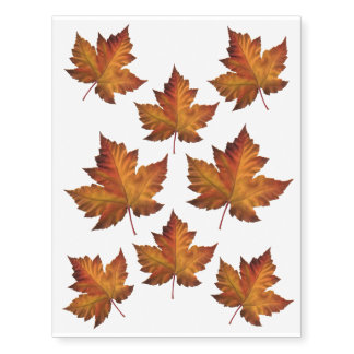 Canada Temporary Tattoo Autumn Leaves Temp Tattoos