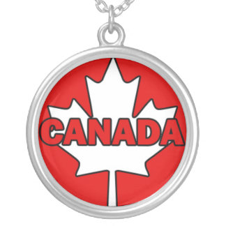 CANADA Text on Maple Leaf Round Pendant Necklace