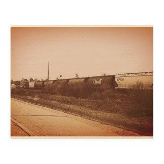 Canada train photo on wood wood print