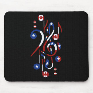 Canada & USA  Music Notes Mouse Pad