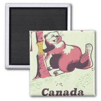 Canada vintage beaver travel poster magnet
