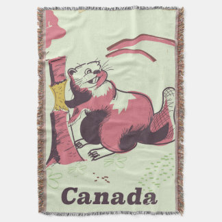 Canada vintage beaver travel poster throw blanket