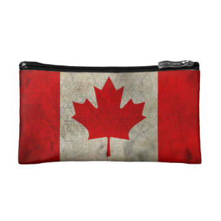 Canada Vintage Grunge Flag Makeup Bag