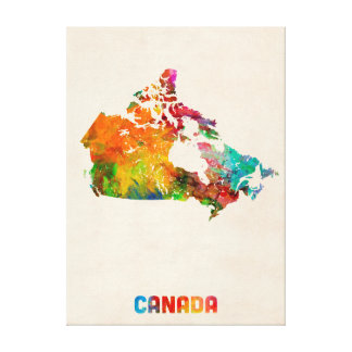 Canada Watercolor Map Canvas Prints