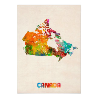 Canada Watercolor Map Personalised Announcement
