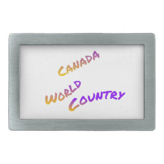 Canada world country, colorful text art rectangular belt buckles