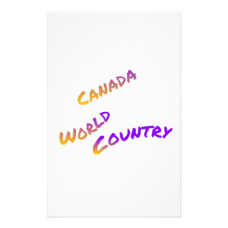 Canada world country, colorful text art stationery