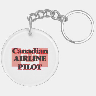 Canadian Airline Pilot Double-Sided Round Acrylic Key Ring