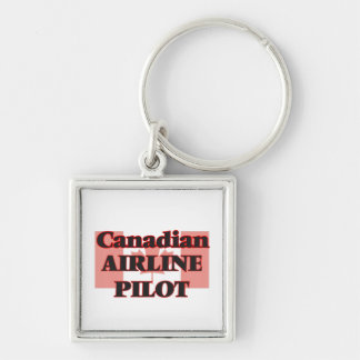 Canadian Airline Pilot Silver-Colored Square Key Ring