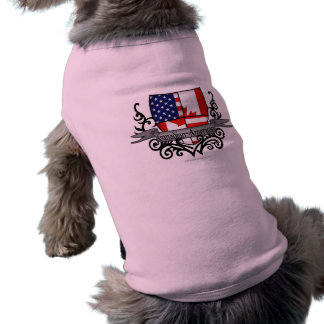 Canadian-American Shield Flag Pet Tee Shirt