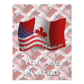 Canadian-American Waving Flag Personalized Announcements