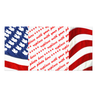 Canadian / American Waving Flag Photo Card Template