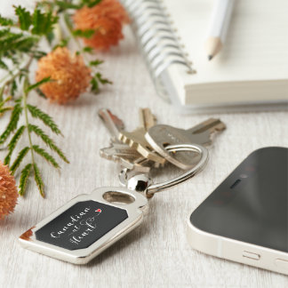 Canadian At Heart Keyring, Canada Silver-Colored Rectangle Key Ring