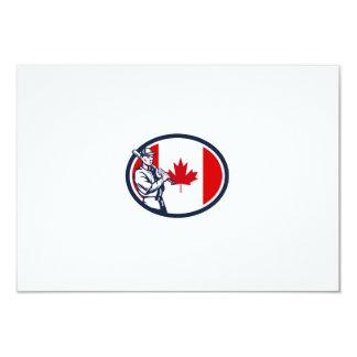 Canadian Baseball Batter Canada Flag Retro Personalised Invitation