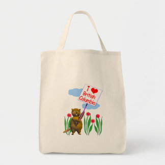 Canadian Beaver Loves British Columbia Tote Bags