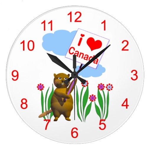 Canadian Beaver Loves Canada Wallclock