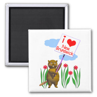 Canadian Beaver Loves New Brunswick Square Magnet