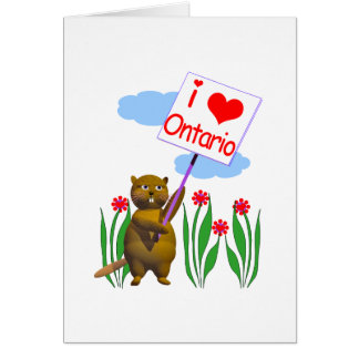 Canadian Beaver Loves Ontario Greeting Cards