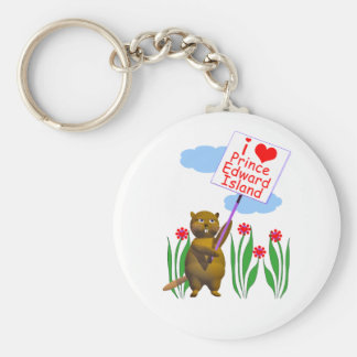 Canadian Beaver Loves Prince Edward Island Basic Round Button Key Ring