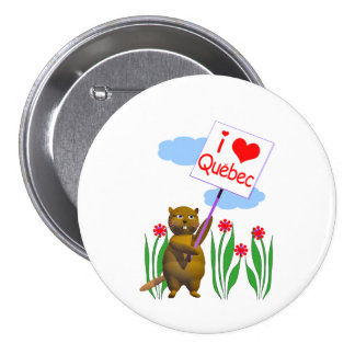 Canadian Beaver Loves Quebec Pinback Button