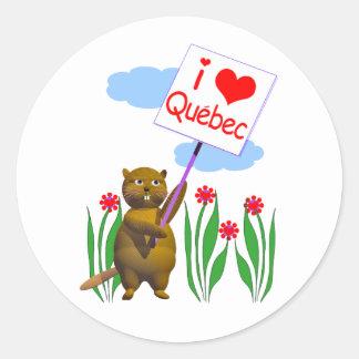 Canadian Beaver Loves Quebec Round Sticker