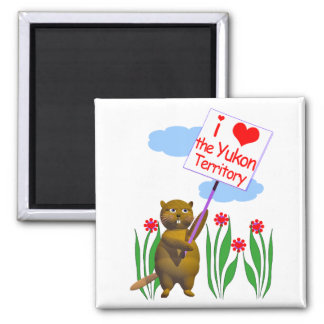 Canadian Beaver Loves the Yukon Square Magnet