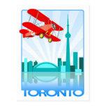 Canadian Biplane Over Toronto Retro Design