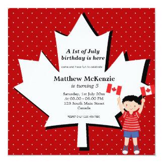 Canadian birthday boy 13 cm x 13 cm square invitation card