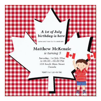 Canadian birthday boy 5.25x5.25 square paper invitation card
