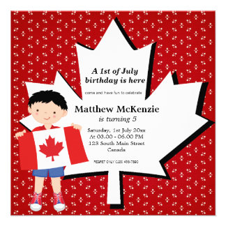 Canadian birthday boy personalized announcement