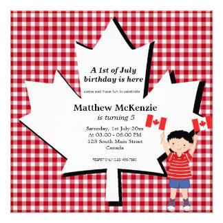 Canadian birthday boy custom announcements