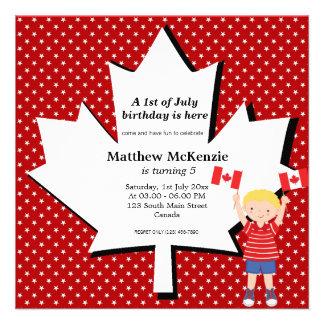 Canadian Birthday boy Personalized Invitations