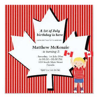 Canadian Birthday boy Personalized Invitation
