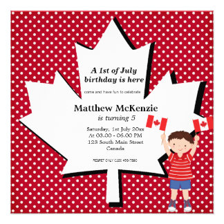 Canadian birthday boy invites
