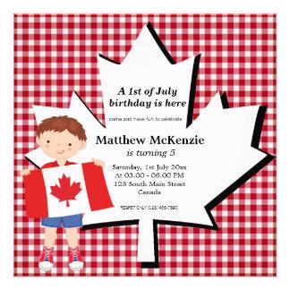 Canadian birthday boy personalized invite