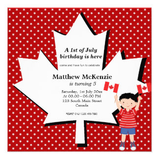 Canadian birthday boy custom invitation