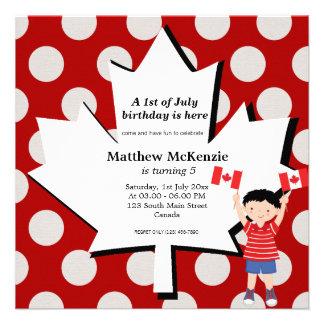 Canadian birthday boy invitations