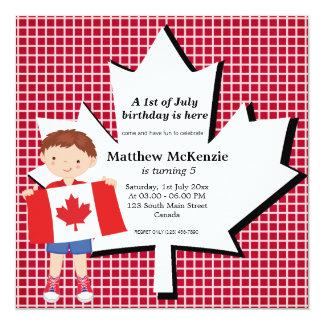Canadian birthday boy custom invitations